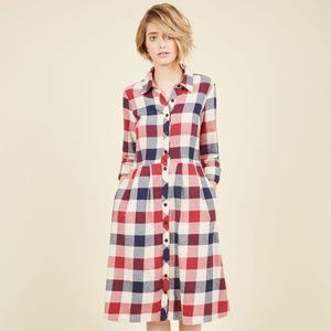 Modcloth Jam, Girl Shirt Dress in Mixed Berry Sz M